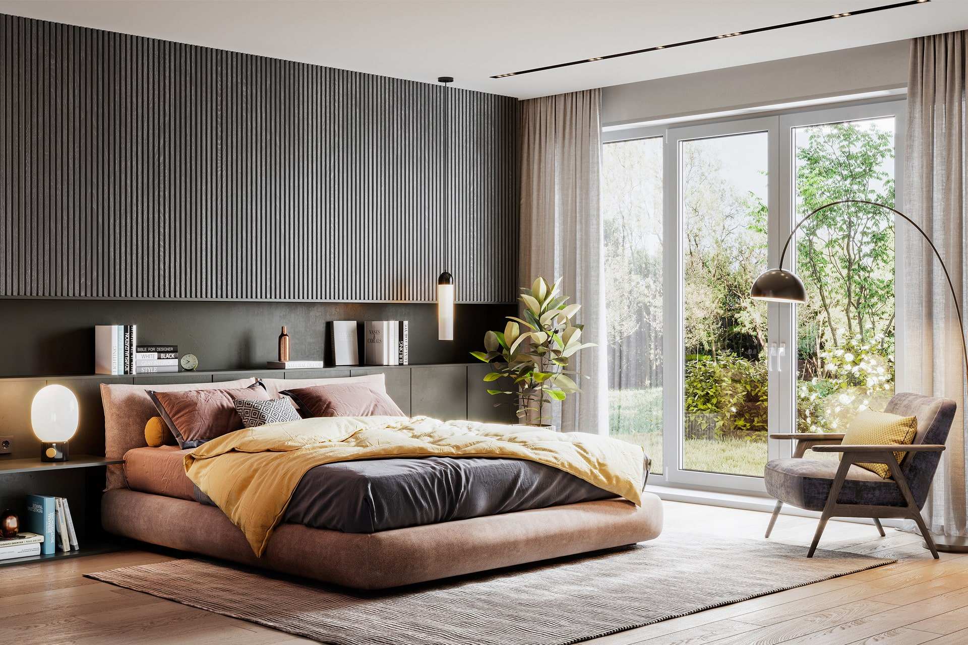 Ylellinen makuuhuone modernilla sisustuksella